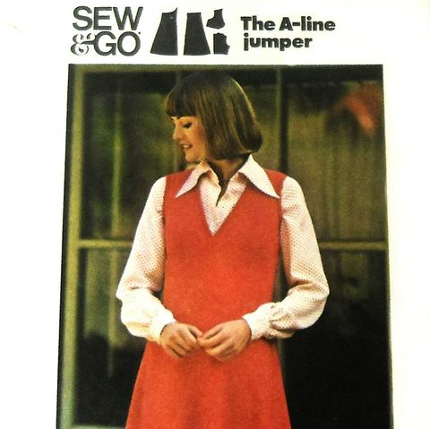 Kicky,Fit,Flare,Jumper.,1970s,Pattern.,Shaped,Empire,Waist.,Plus,18,sewinghappyplace, Sewing Pattern, Vintage