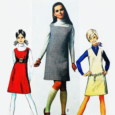 Jr,Teen,A,line,Shift,Jumper.,1960s,Pattern.,Scoop,Square,V,Neckline,sewinghappyplace, Sewing Pattern, Vintage