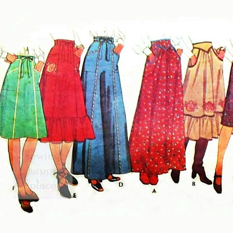 Full,Skirt,in,3,Lengths,1970s,Pattern,Maxi,Midi,Prairie,Boho,Rose,sewinghappyplace, Sewing Pattern, Vintage