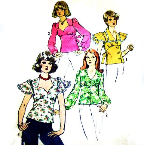 Blouses,Tops,Sweetheart,Neckline,1970s,Pattern.,Flutter,Sleeves.,sewinghappyplace, Sewing Pattern, Vintage