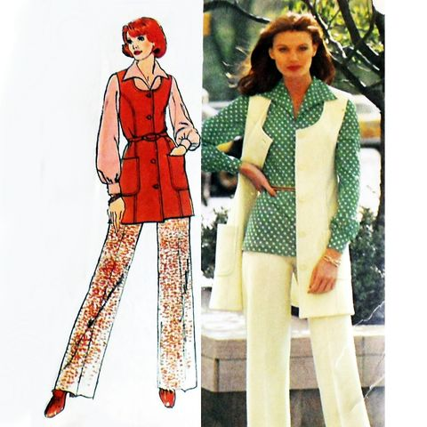 Pants,Tunic,Vest,1970s,Pattern.,Mini,Jumper,,Blouse,w,Italian,Collar.,sewinghappyplace, Sewing Pattern, Vintage