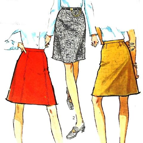 Skirt,Variations.,1960s,Pattern.,Straight,ALine,Above,Knee,Length.,sewinghappyplace, Sewing Pattern, Vintage