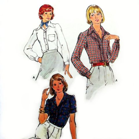 Tailored,Blouse,1970s,Pattern.,Collar,and,Band,cut,as,one.,sewinghappyplace, Sewing Pattern, Vintage