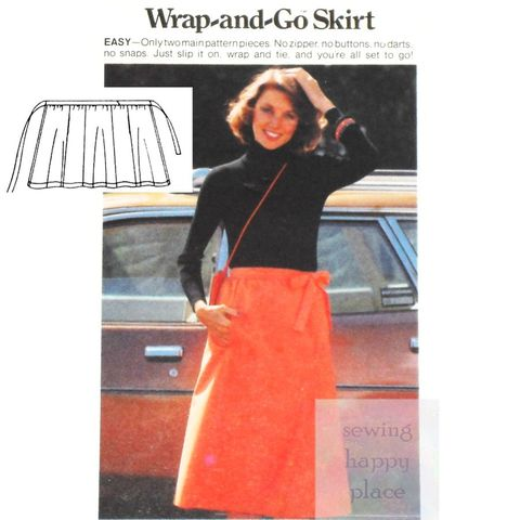 Dirndl,Wrap,Skirt,1970s,Pattern.,Side,Front,Tie.,In,Seam,Pockets.,sewinghappyplace, Sewing Pattern, Vintage