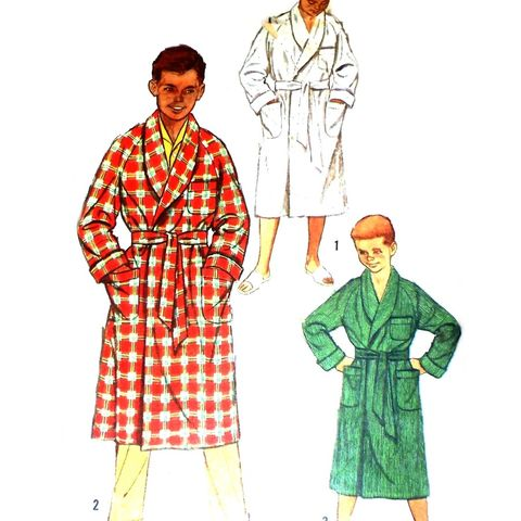 Boys,Robe,Front,Wrap,w,Belt,1950s,Pattern.,Raglan,Sleeves,Shawl,Collar,sewinghappyplace, Sewing Pattern, Vintage