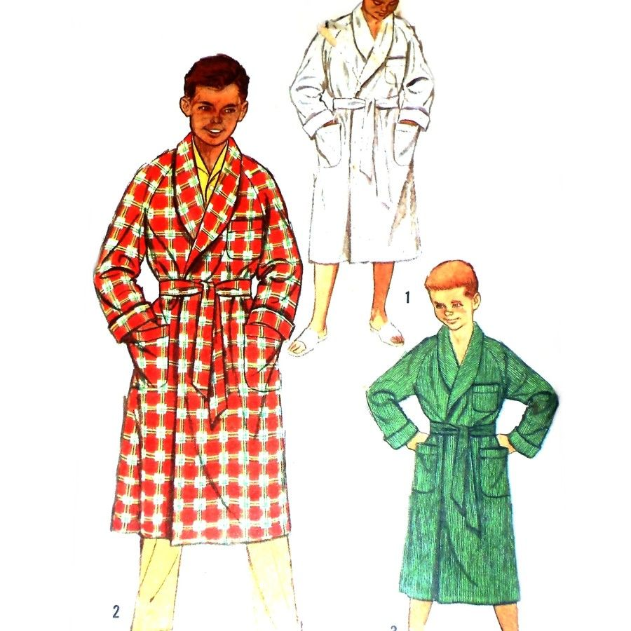 Boys Robe Front Wrap w Belt 1950s Pattern. Raglan Sleeves Shawl Collar - product images  of