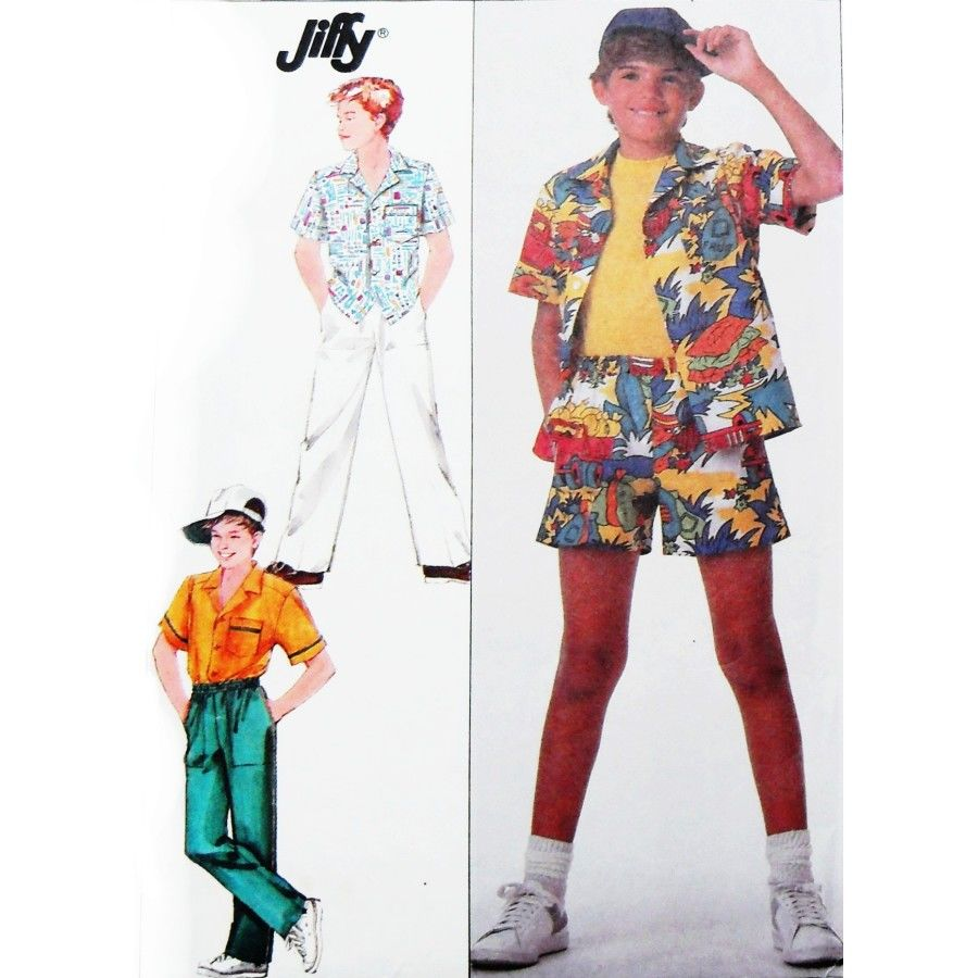 Boys Camp Shirt Pants Shorts 1980s Pattern. Play Clothes Elastic Waist - product images  of