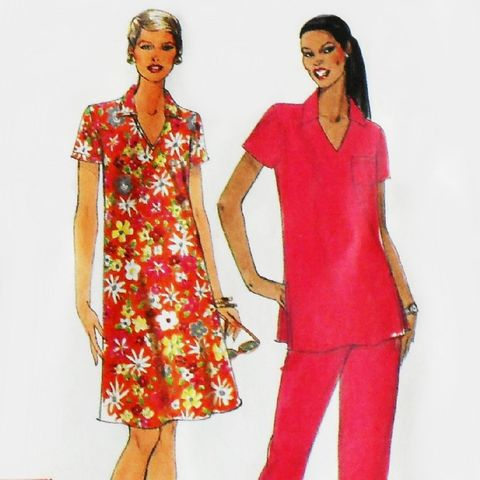 Dress,Tunic,Pants,1990s,Pattern.,RelaxedFit.,V,Neckw,Collar.,sewinghappyplace, Sewing Pattern, Vintage