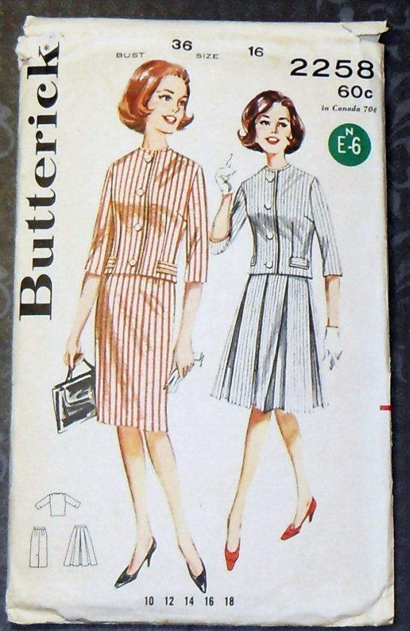 Suit 1960s Pattern. Jackie O. Suit with Slim or Pleated Full Skirt - product images  of