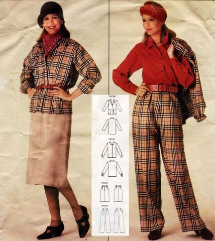 Office,Basic,Separates.,1980s,Pattern.,Relaxed,Fit,Jacket.,for,Plaids.,sewinghappyplace, Sewing Pattern, Vintage