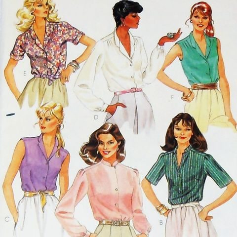 Blouse,Variations.,1980s,Pattern.,Day,Office,Wear.,Forward,Shoulder,FF.,sewinghappyplace, Sewing Pattern, Vintage