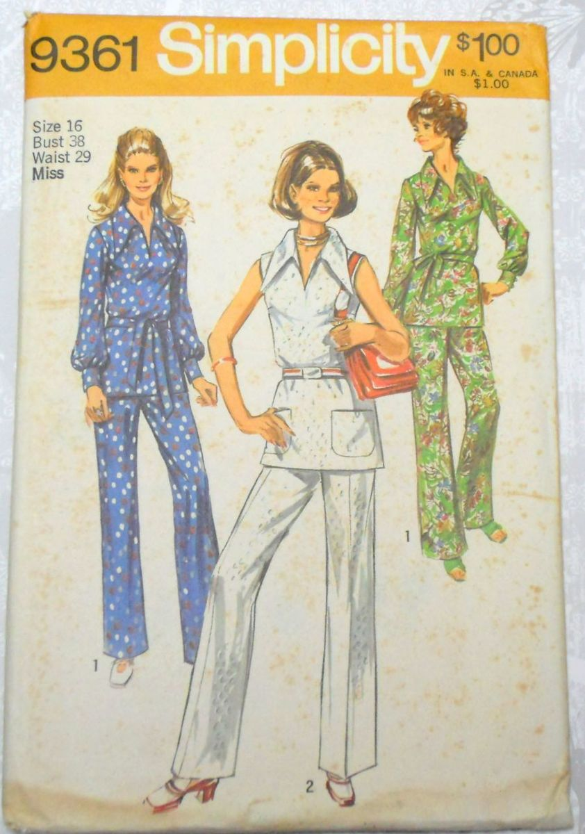 Retro Mod Top Pants. 1970s Pattern. Wide Collar. Uncut FF. - product images  of