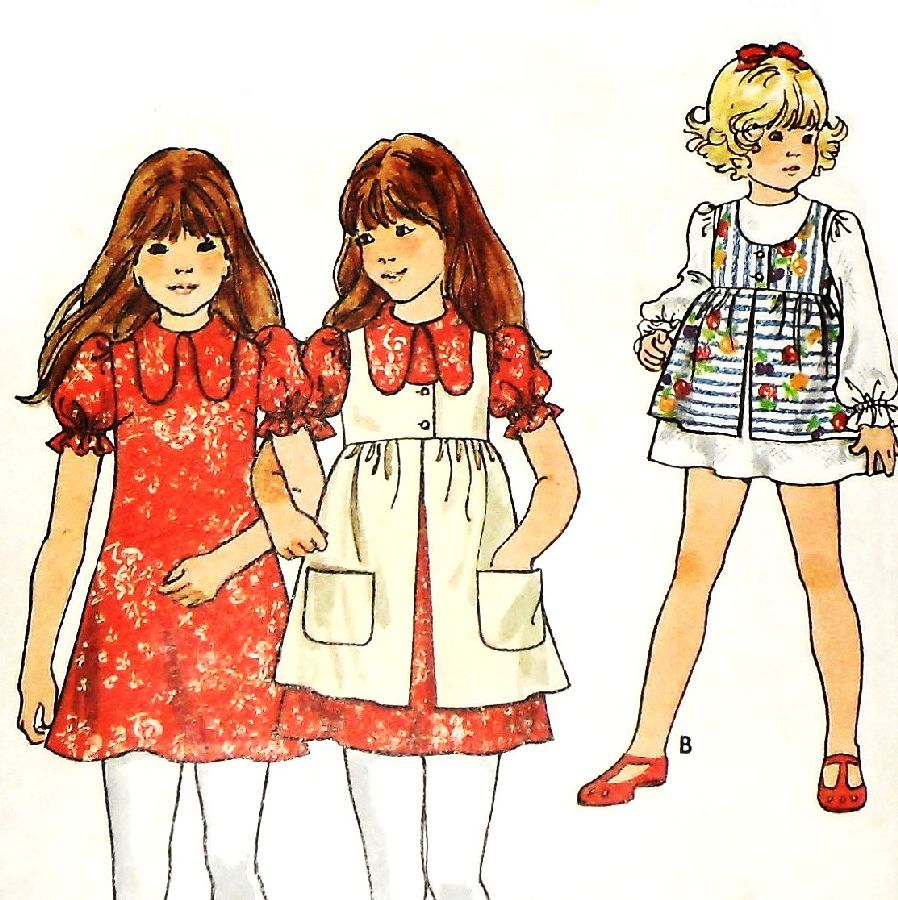 Girls Dress w Pinafore. 1970s Pattern. A line. Empire Smock - product images  of