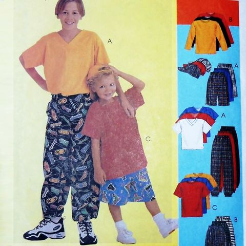 Boys,Play,Clothes,Pattern.,Board,Shorts.,Baggy,Slacks.,T,Shirt.,sewinghappyplace, Sewing Pattern, Vintage