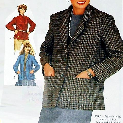 Relaxed,Fit,Jacket,1980s,Pattern.,Collar,Options.,sewinghappyplace, Sewing Pattern, Vintage