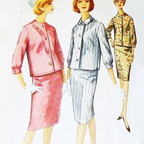 Casual,Jacket.,1960s,Pattern.,Slim,Straight,Skirt.,Three,Quarter,Sleeves.,sewinghappyplace, Sewing Pattern, Vintage