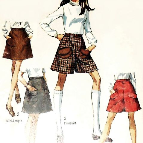 Culottes,Miniskirt,Mini,Pantskirt,1960s,Pattern.,Pocket,Detail.,Skort.,sewinghappyplace, Sewing Pattern, Vintage