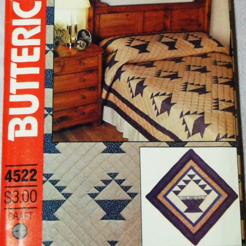 Butterick,4522,Pieced,Quilt,Fruit,Basket.,Country,Prim,Decor.,Twin,Queen,King,sewinghappyplace, Sewing Pattern, Vintage