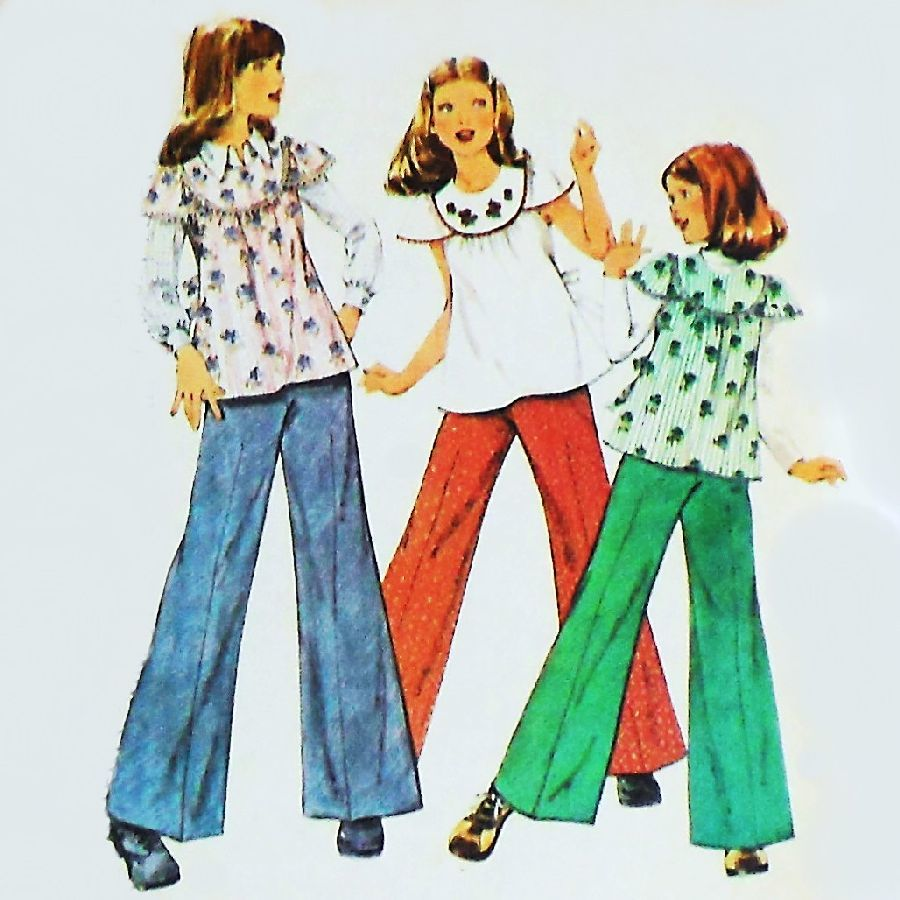 Girls 1970s Pattern. Boho Top Bellbottom Pants. Retro. - product images  of