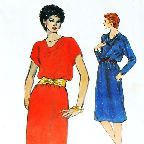 Cowl,Neck,Pullover,Dress.,70s,Pattern.,Long,or,Cap,Kimono,Sleeves.,B40,sewinghappyplace, Sewing Pattern, Vintage