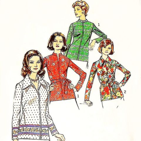 Zip,Front,Top,Blouse/,1970s,Pattern/,Suitable,for,Border,Prints,B38,sewinghappyplace, Sewing Pattern, Vintage