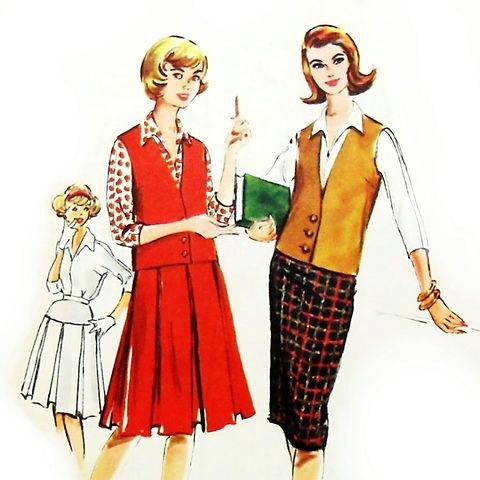 Weskit,Vest.,1950s,Pattern.,Skirt,Slim,or,Pleated.,Kimono,Blouse.,Mad,Men,Retro.,sewinghappyplace, Sewing Pattern, Vintage