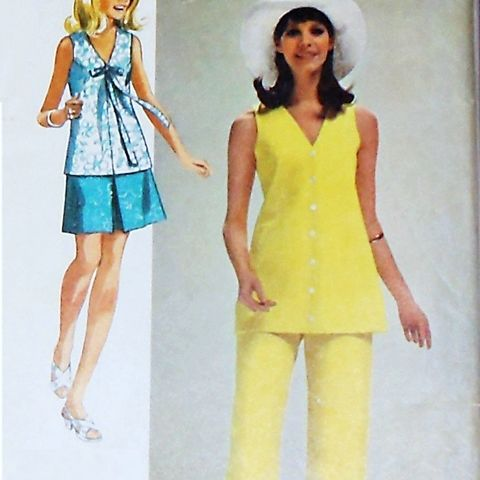 Summer,Separates/,1970s,Pattern/,Top,Pants,Mini,Skirt/,Uncut,FF,sewinghappyplace, Sewing Pattern, Vintage