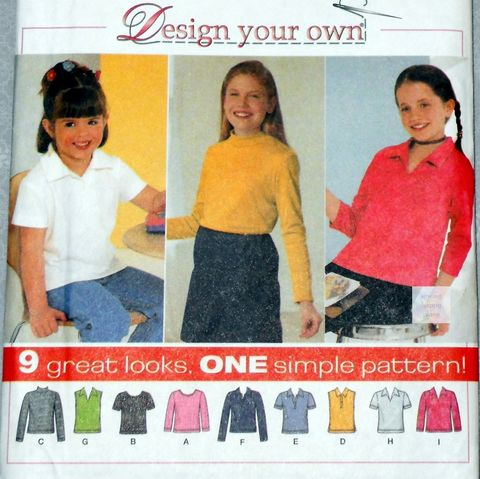 Girls,Knit,Pullover,Tops,with,Options.,Sewing,Pattern.,Sleeve,and,Collar,variations.,Simplicity 4863, costume sewing patterns, sewinghappyplace