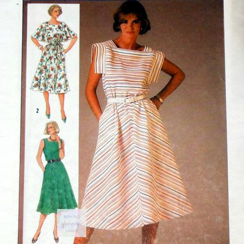 Summer,Dress,w,Sleeve,Options,1980s,Pattern.,Sleeveless,,Flutter,Sleeve,,Flange,Sleeve.,Bias,Skirt.,sewinghappyplace, Sewing Pattern, Vintage