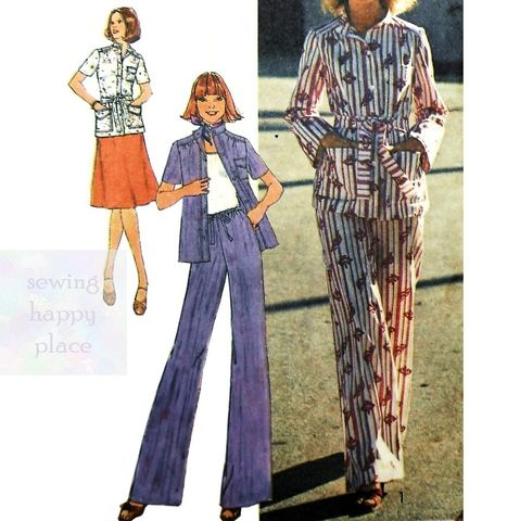 Safari,Military,Shirt,Separates,1970s,Pattern.,A,line,Skirt.,Wide,Leg,Pants.>,sewinghappyplace, Sewing Pattern, Vintage