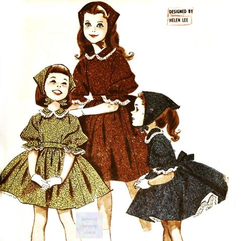 Helen,Lee,1950s,Pattern.,Girls,Dress,w,Very,Full,Skirt.,Babushka,Scarf.,Petticoat.,sewinghappyplace, Sewing Pattern, Vintage