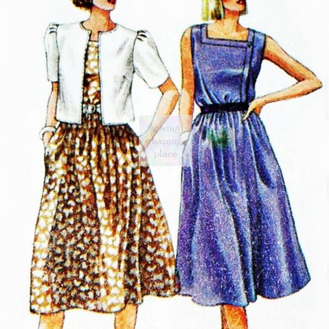 Sleeveless,Dress,+,Cropped,Jacket,80s,Pattern.,Square,Neckline.,Simplicity,6748,sewinghappyplace, Sewing Pattern, Vintage