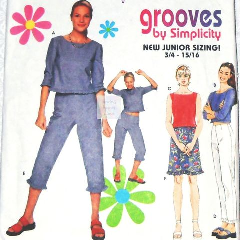 Junior,Separates,Ruffle,Trim,Pattern.,Crop,Top.,Midriff,Capri,Pants,,Skirt.,Simplicity,9132,Simplicity 4863, costume sewing patterns, sewinghappyplace
