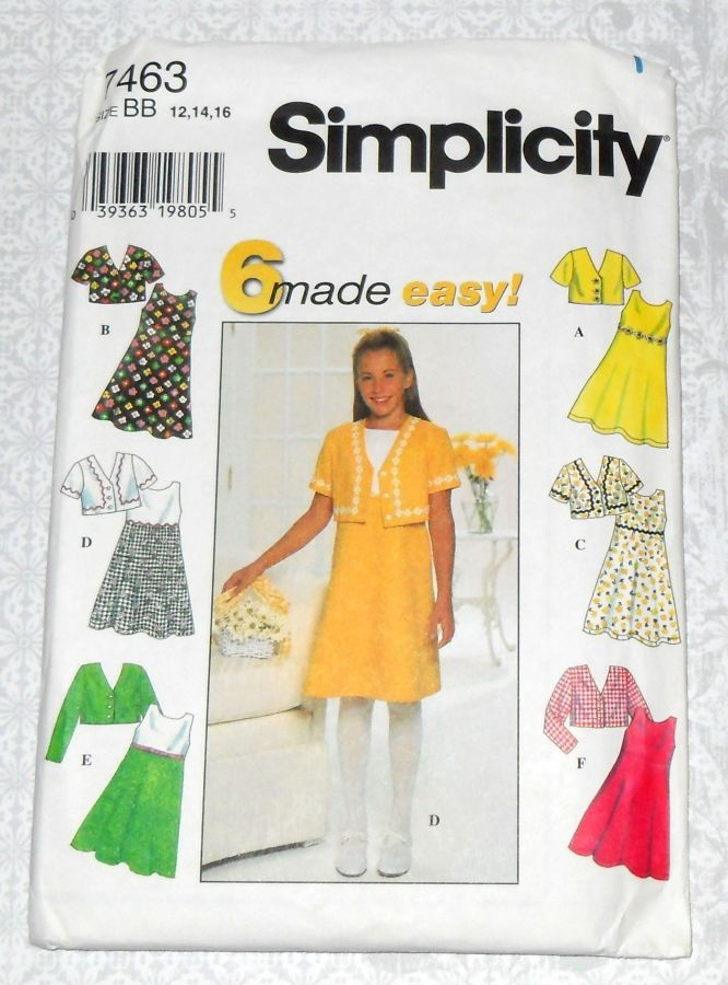 Girls Jacket Dress Pattern. Fit Flare Dress, Trim and Contrast Options. Simplicity 7463 - product images  of