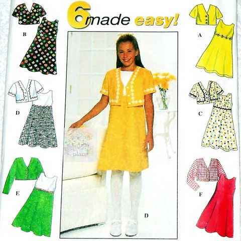 Girls,Jacket,Dress,Pattern.,Fit,Flare,Dress,,Trim,and,Contrast,Options.,Simplicity,7463,Simplicity 4863, costume sewing patterns, sewinghappyplace