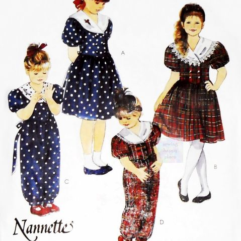 Girls,Frilly,Party,Dress,90s,Pattern.,Jumpsuit,Romper.,Designer,Nannette.,McCalls,5116,Simplicity 4863, costume sewing patterns, sewinghappyplace
