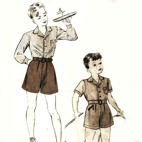Boys,Shirt,Shorts.,1940s,Pattern.,sz,6.,Two,pc,Little,Suit.,Picture,Outfit.,Hollywood,487.,Simplicity 4863, costume sewing patterns, sewinghappyplace