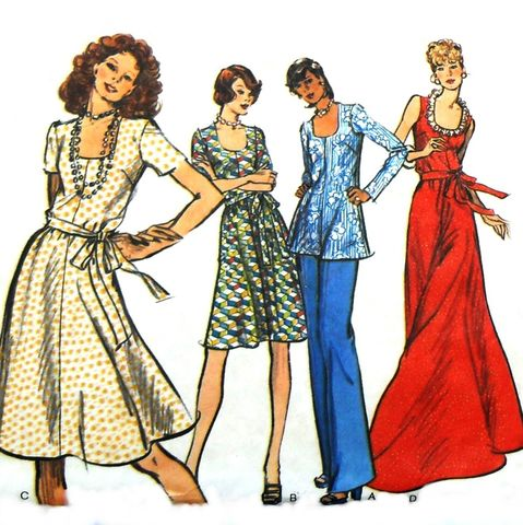 Fit,Flare,Dress,or,Tunic,and,Pants,1970s,Pattern.,Deep,Scoop,Neckline.,Vogue,8559.,sewinghappyplace, Sewing Pattern, Vintage