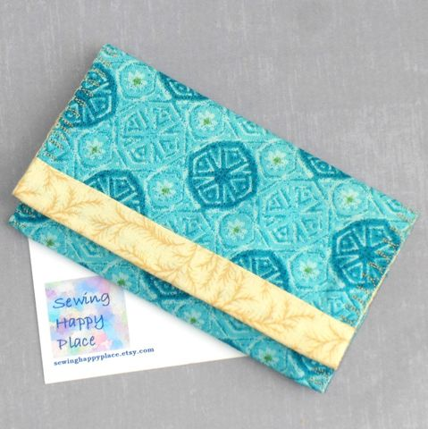 Turquoise,Daisy,Medallion.,Fabric,Gift,Card,Wallet.,Business,Holder.,Mini,sewinghappyplace, Fabric, Gift Card, Wallet, Business Card Holder, Mini Wallet, purse tea cozy, sweetener purse pack, shpf