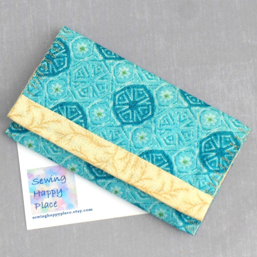 Turquoise Daisy Medallion. Fabric Gift Card Wallet. Business Card Holder. Mini Wallet.  - product images  of