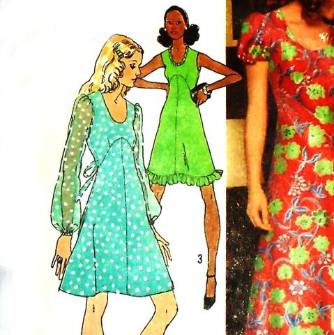 Form,Fitting,Empire,Waist,Dress,Gown,1970s,Pattern.,Flowy,Romantic,Disco,Dress.,sewinghappyplace, Sewing Pattern, Vintage