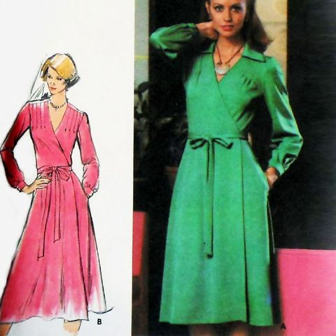 Wrap,Dress,w,Shoulder,Tucks.,1970s,Pattern.,Pointed,Collar.,Uncut,FF.,sewinghappyplace, Sewing Pattern, Vintage
