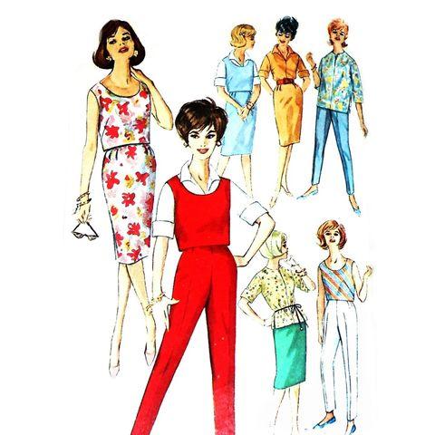 Shirtdress W Bow Neckline 1970s Pattern Flare Skirt Full
