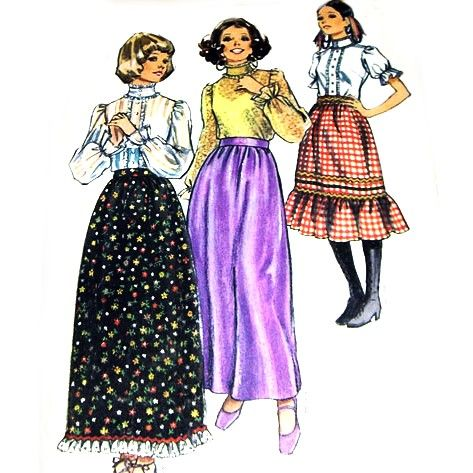 Prairie,Boho,Hippy,Skirt,Blouse.,1970s,Pattern.,Maxi,Midi.,Ruffle,Flounce.,High,Stand,Collar.,sewinghappyplace, Sewing Pattern, Vintage