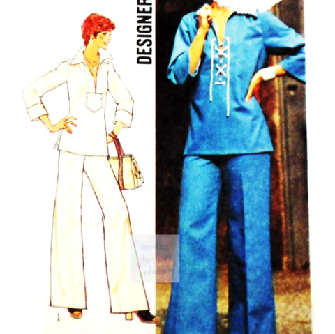 Pullover,Lace,up,Tunic,70s,Pattern.,Wide,Leg,Pants.,Slit,Front.,sewinghappyplace, Sewing Pattern, Vintage