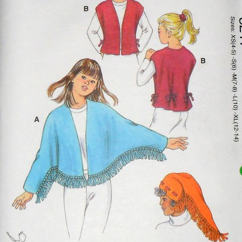 Girls,Fleece,Winter,Wear,Pattern.,Fleece.,Hat,,Fringe,Jacket,,Vest.,vintage, sewing patterns, sewinghappyplace