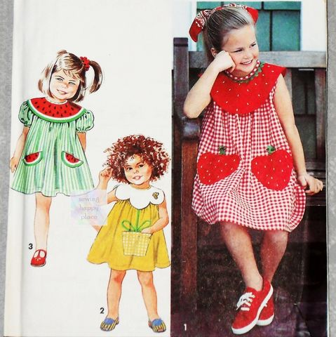 Toddler,Girls,Whimsical,Dress,1990s,Pattern.,Collar,and,Pocket,Variations.,Strawberry,,Daisy,,Watermelon.,vintage, sewing patterns, sewinghappyplace
