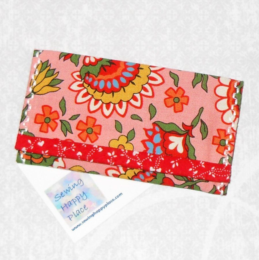 Folksy Artsy Dutch. Fabric Gift Card Wallet. Business Card Holder. Mini Wallet. Pink Floral. - product images  of