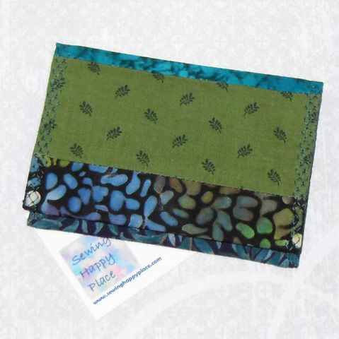 Shady,Glade.,Fabric,Gift,Card,Wallet.,Business,Holder.,Mini,String,Pieced.,sewinghappyplace, Fabric, Gift Card, Wallet, Business Card Holder, Mini Wallet, purse tea cozy, sweetener purse pack, shpf