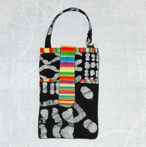 Mudcloth,and,Brights.,Padded,Fabric,Smartphone,Android,Iphone,case.,3,Pockets.,Gadget,Wallet.,Fits,Larger,Phones,sewinghappyplace, fabric phone case, cell phone case, iphone case, shpf android case, samsung case, gadget case, camera case.